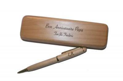 Coffret écrin et stylo en bois